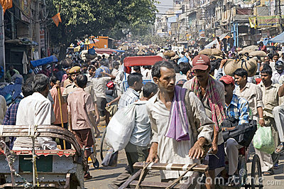 Crowded Indian Street Scene Editorial Photography