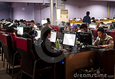 A crowded internet cafe in China Editorial Stock Photo