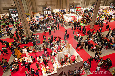 Crowded panoramic view of an indoor exhibition Editorial Stock Image