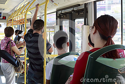 Crowded people in the bus Editorial Stock Photo