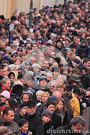 Crowded people street scene Editorial Stock Photo