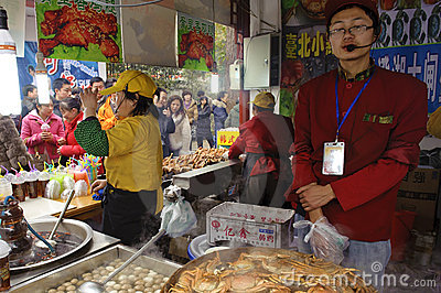 Crowded people to buy food Editorial Stock Photo