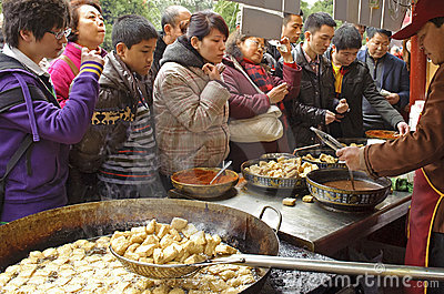 Crowded people to buy food Editorial Image