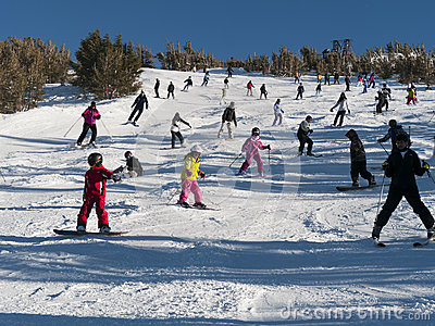 Crowded ski slope on a perfect sunny day Editorial Photo