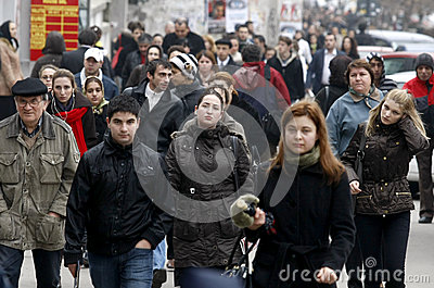 Crowded street Editorial Photography