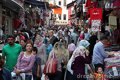 Crowded street in Istanbul Editorial Stock Photo
