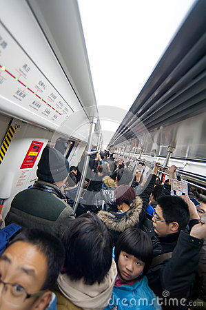 Crowded subway train in Zhengzhou Editorial Photography