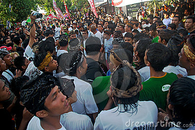 Crowds in Balinese festival Editorial Photography
