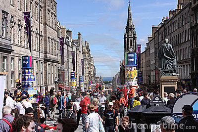 Crowds during Edinburgh festival Editorial Image