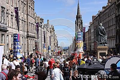 Crowds during Edinburgh festival Editorial Image