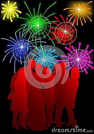 Crowds on fireworks