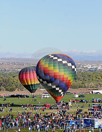 Crowds at hot air balloon festival Editorial Stock Photo