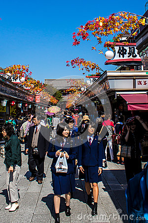 Free Crowds Of Tourists At Nakamise-dori Royalty Free Stock Photography - 85785857