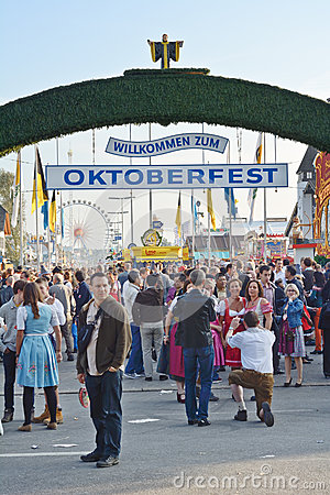 Crowds at the Oktoberfest Editorial Photo
