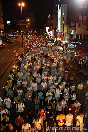 Crowds parading at Wesak Day Procession Editorial Stock Image