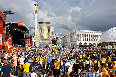 Crowds of people on Independence Square of Kiev Editorial Stock Photo