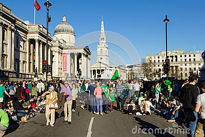 Crowds of People in Trafalgar Square
