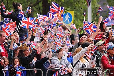 Crowds at Royal Wedding 2011 Editorial Image