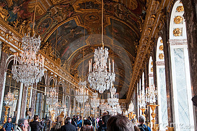 Crowds of tourists visit the Palace of Versailles Editorial Photography