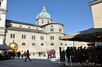 Crowds of tourists visiting Salzburg Editorial Stock Photo