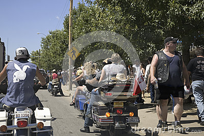 Crowds wandering the streets of Sturgis Editorial Stock Image