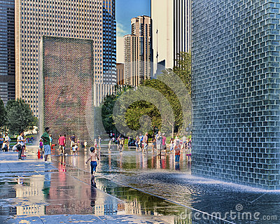 Crown Fountain, Millennium Park, Chicago Editorial Image
