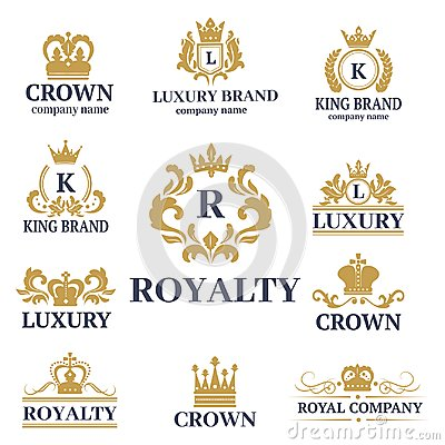 Crown king vintage premium white badge heraldic ornament luxury kingdomsign vector illustration. Vector Illustration