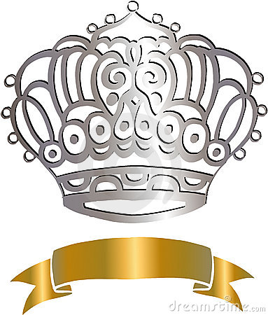 Crown and Scroll Vector Illustration