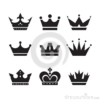 Free Crown Vector Icons Set. Crowns Signs Collection. Crowns Black Silhouettes. Design Elements Royalty Free Stock Images - 52756509