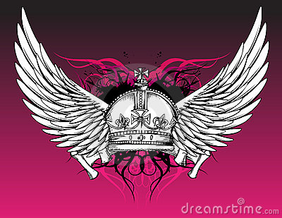 Crown and Wings Tattoo on Pink