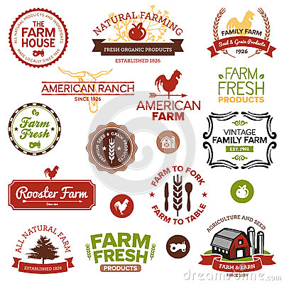 Cru et étiquettes modernes de ferme