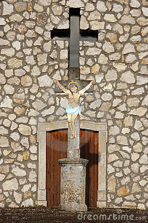 Crucifix before a chapel