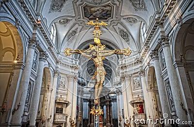 Crucifix in a church interior