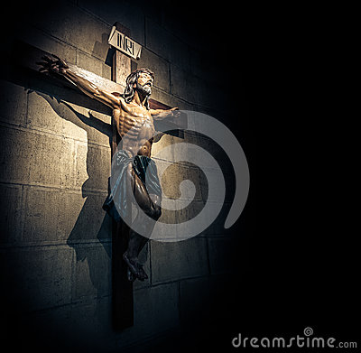 Free Crucifix In Church On The Stone Wall. Royalty Free Stock Photo - 31122405