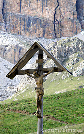 Crucifix at the Pass Pordoi, Italian Dolomites