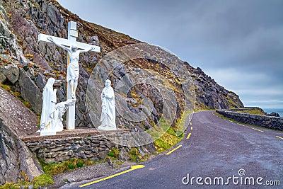 Crucifix at the road on Dingle peninsula