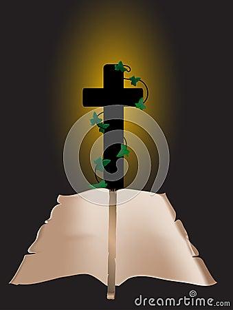 Crucifix and scroll