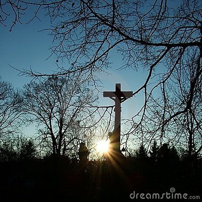 Crucifix in the sunset