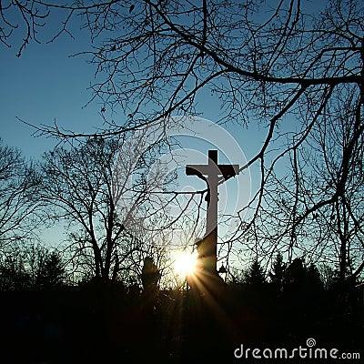 Crucifix in the sunset