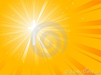 Crucifix in yellow sunburst