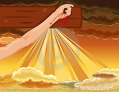 Crucifixion - hand of Jesus nailed to the Cross