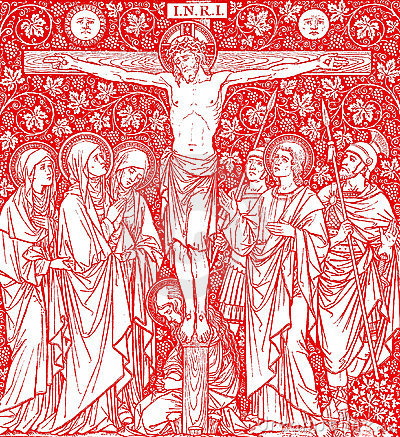 Crucifixion of Jesus Christ in red