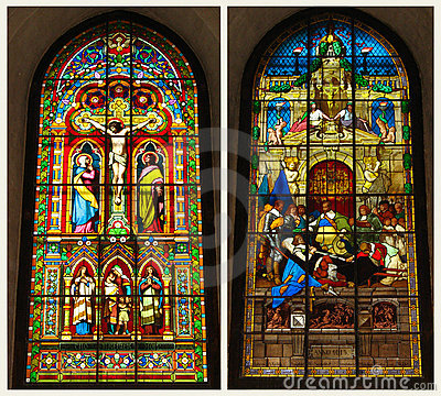 crucifixion in the stained-glass window