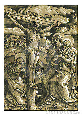 The Crucifixion Woodcut Woodblock print Editorial Image