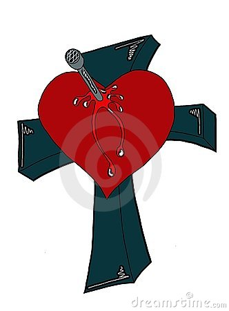 Bleeding Heart crucified on a cross