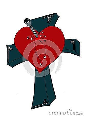 Bleeding Heart crucified on a cross