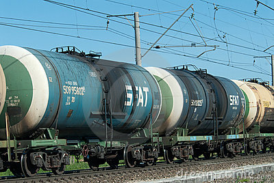 Crude oil tank truck train Editorial Stock Photo