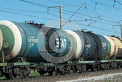 Crude oil tank truck train Editorial Stock Photo