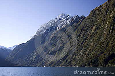Cruise boat against the milford sound landscape