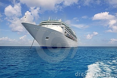 Cruise boat anchor in Caribbean sea Cozumel